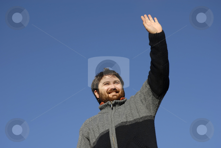 Happy stock photo, Young casual man with the sky as background by Rui Vale de Sousa