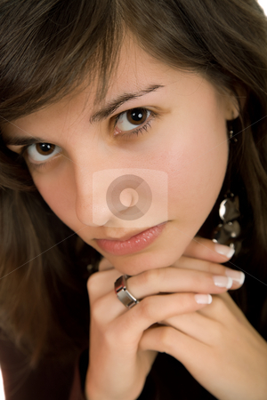 Close stock photo, Young beautiful woman portrait, isolated on white by Rui Vale de Sousa