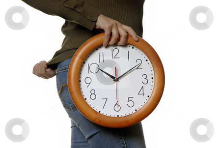 Clock stock photo, Woman body parts with a clock covering her by Rui Vale de Sousa