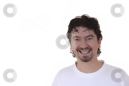 Happy stock photo, Happy young casual man in a white background by Rui Vale de Sousa