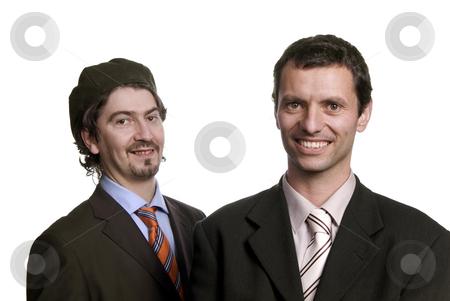 Team stock photo, Two young business men portrait on white by Rui Vale de Sousa