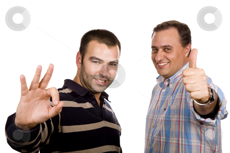 Victory stock photo, Two casual young men portrait isolated on white background by Rui Vale de Sousa