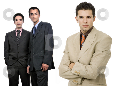 Team stock photo, Three business man isolated on white background, focus on the right man by Rui Vale de Sousa