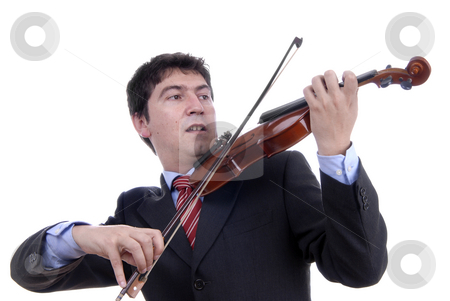 Violin player stock photo, Violin player man isolated on a white background by Rui Vale de Sousa