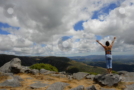 Freedom stock photo, Young woman with arms wide open at the mountains by Rui Vale de Sousa
