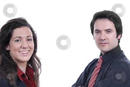 Couple  stock photo, Business couple isolated on white background, focus on the woman by Rui Vale de Sousa