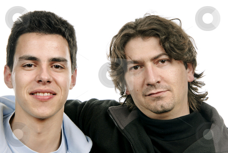 Together stock photo, Two casual young men portrait isolated on white background by Rui Vale de Sousa