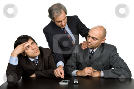 Working stock photo, Group of workers on a desk, isolated on white by Rui Vale de Sousa
