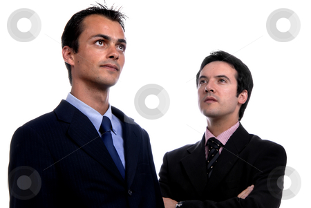 Two young stock photo, Two young business men portrait on white. focus on the left man by Rui Vale de Sousa