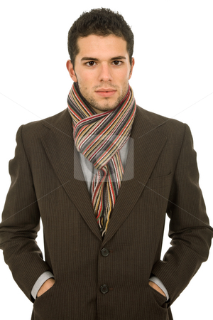 Winter stock photo, Young man portrait, dressed for winter, in white by Rui Vale de Sousa