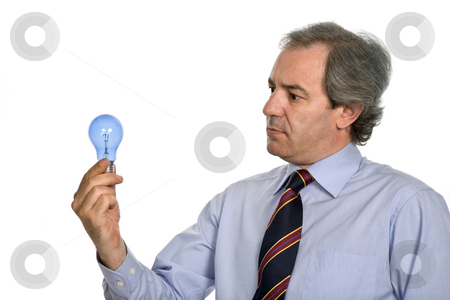 Idea stock photo, Young business man with a lamp isolated on white by Rui Vale de Sousa