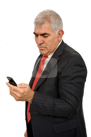 Phone stock photo, Mature man on the phone in white background by Rui Vale de Sousa
