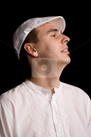 Dreamer stock photo, Young happy man portrait, on a black background by Rui Vale de Sousa