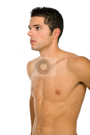 Skin stock photo, Young sensual man on a white background by Rui Vale de Sousa