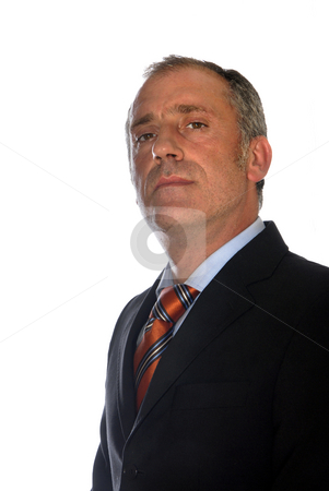 Caucasian stock photo, Business man full of thoughts - isolated over a white background by Rui Vale de Sousa