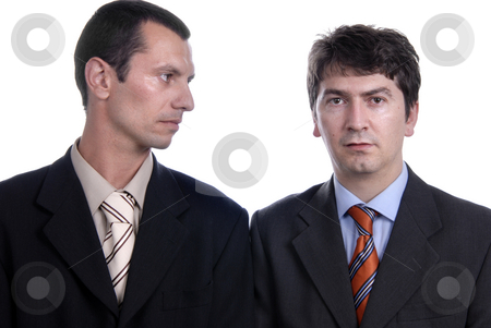 Standing stock photo, Two young business men portrait on white. by Rui Vale de Sousa