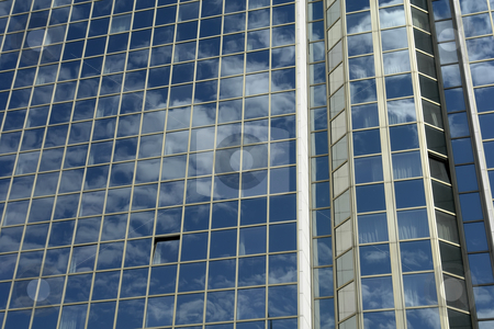 Modern stock photo, Modern mirror building detail and the sky by Rui Vale de Sousa