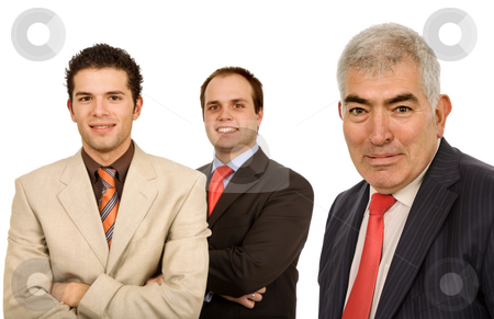 Team stock photo, Three young business men portrait on white by Rui Vale de Sousa