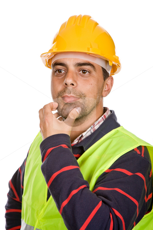 Worker stock photo, Young worker portrait in a white background by Rui Vale de Sousa