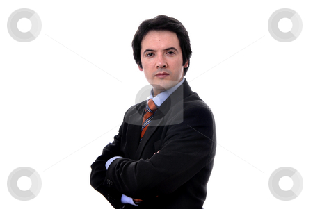 Pensive stock photo, Young business man in a white background by Rui Vale de Sousa