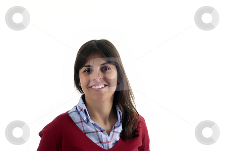 Woman stock photo, Young casual woman portrait in a white background by Rui Vale de Sousa