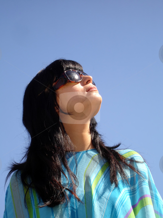 Look stock photo, Young casual girl portrait in the sun light by Rui Vale de Sousa