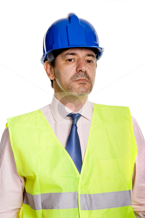 Engineer stock photo, An engineer with blue hat, isolated on white by Rui Vale de Sousa