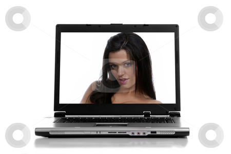 Laptop stock photo, Laptop isolated on white with a beautiful woman by Rui Vale de Sousa