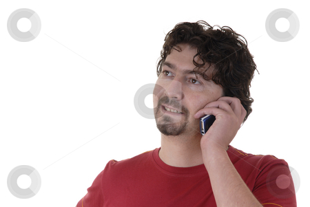 Call stock photo, Young man calling by phone in a white background by Rui Vale de Sousa