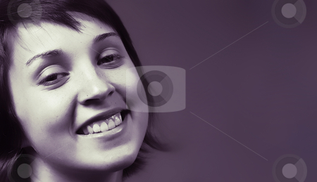 Happy stock photo, Beautiful happy young woman face. blue tone mode by Rui Vale de Sousa