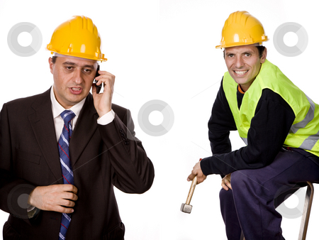 Workers stock photo, Workers in a white background, focus on the left man by Rui Vale de Sousa