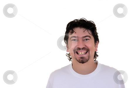 Happy stock photo, Happy casual young man in white background by Rui Vale de Sousa