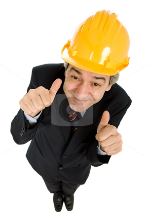 Thumbs stock photo, An engineer with yellow hat, isolated on white by Rui Vale de Sousa