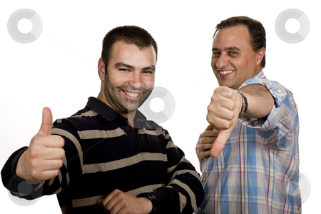 Thumbs stock photo, Two casual young men portrait isolated on white background by Rui Vale de Sousa