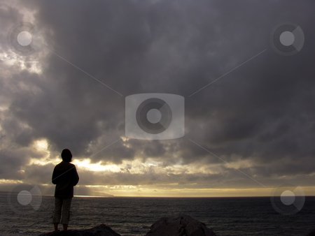 Silouette stock photo, Woman silouette at the sunset by Rui Vale de Sousa
