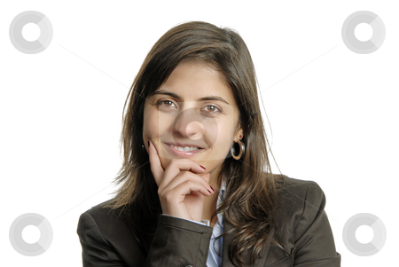 Woman stock photo, Young attractive woman portrait, over white background by Rui Vale de Sousa