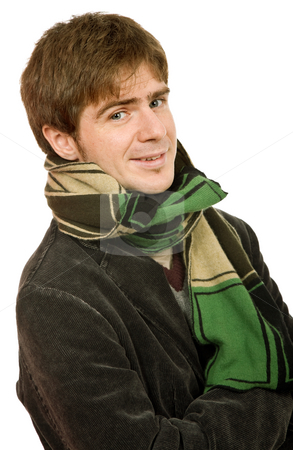 Looking stock photo, Studio picture of a young man dressed for winter by Rui Vale de Sousa