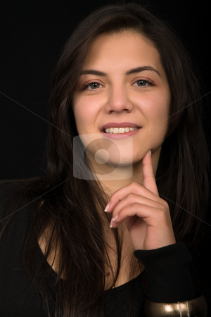 Beautiful stock photo, Young beautiful brunette portrait against black background by Rui Vale de Sousa