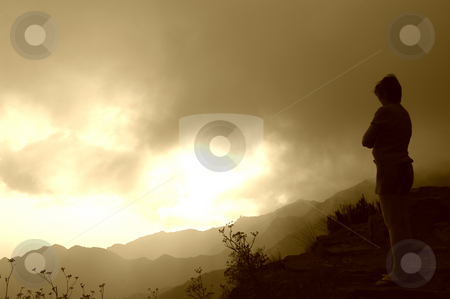 Wait stock photo, Woman waiting on the mountains at sunset by Rui Vale de Sousa