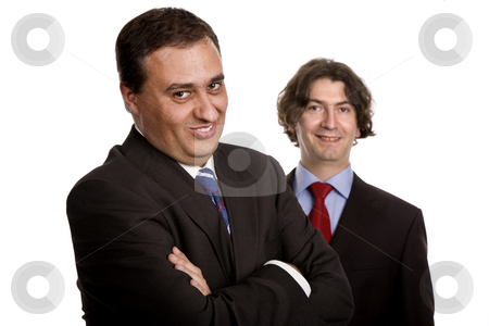 Funny stock photo, Two young business men portrait on white by Rui Vale de Sousa