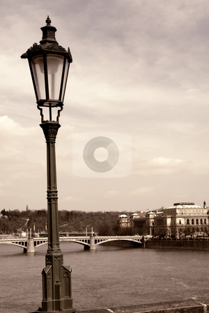Prague stock photo, Old picture of river vlatva in prague town, digital work by Rui Vale de Sousa