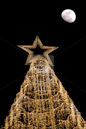 Christmas stock photo, Computer generated christmas tree and the moon by Rui Vale de Sousa