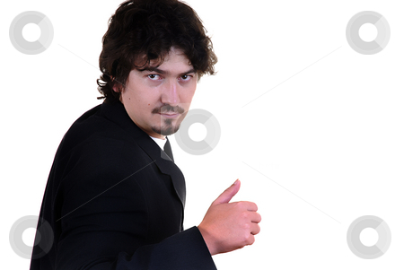 Fine stock photo, Young man portrait going thumbs up on white by Rui Vale de Sousa