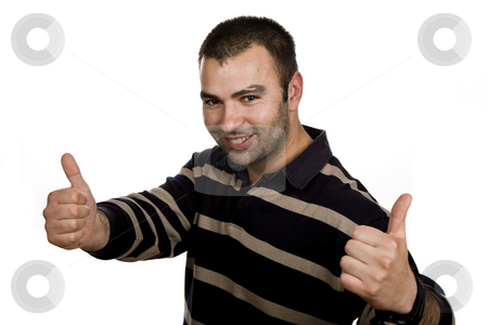 Thumbs up stock photo, Young casual man portrait in a white background by Rui Vale de Sousa