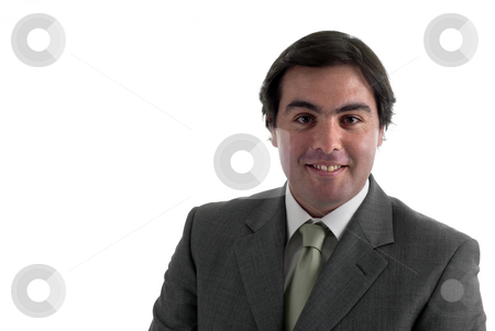 Smile stock photo, Young business man portrait on white background by Rui Vale de Sousa