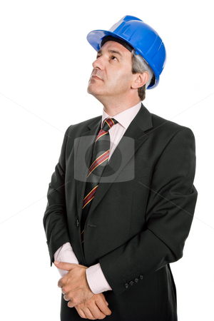 Wondering stock photo, An engineer with blue hat, isolated on white by Rui Vale de Sousa