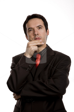 Pensive stock photo, Young business man portrait in white background by Rui Vale de Sousa