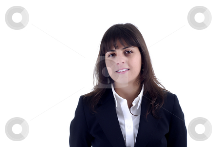 Stand stock photo, Young business woman portrait in white background by Rui Vale de Sousa
