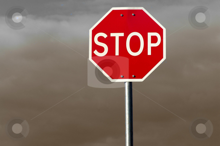 Stop sign stock photo, Street stop sign with clouds and sky as background by Rui Vale de Sousa