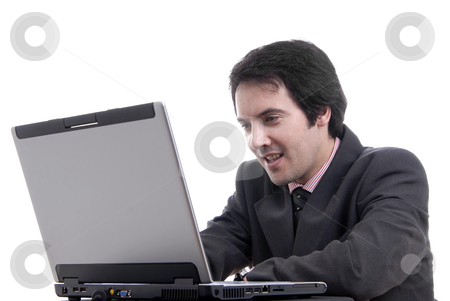 Professional stock photo, Handsome young business man working with laptop by Rui Vale de Sousa